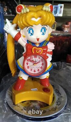 Sailor Moon Figure Alarm Clock Set Bandai Action Anime Doll Usagi Vintage